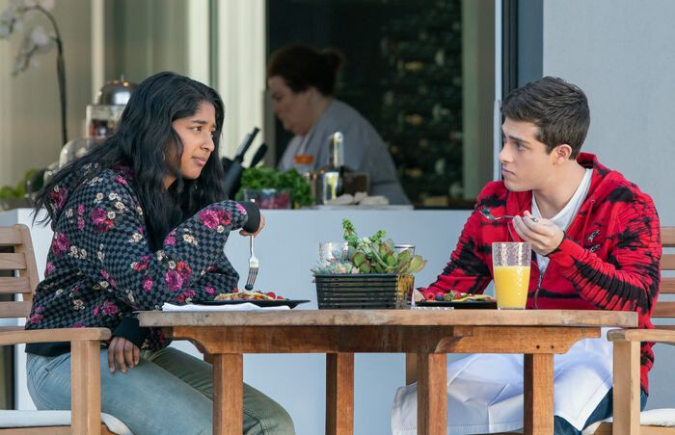 Devi and Ben have breakfast together at Ben's House in Netflix's Never Have I Ever
